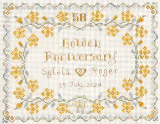 50th Wedding Anniversary Sampler cross stitch kit