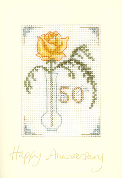 Rose Golden anniversary card cross stitch kit