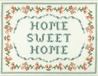 Floral Home Sweet Home cross stitch