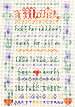 verse for mother sampler cross stitch