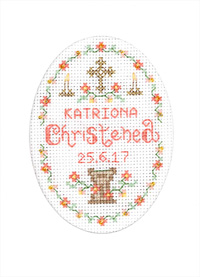 Pink Christening card cross stitch