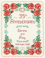 Rose Coral anniversary sampler