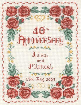 Rose 40th Anniversary Sampler cross stitch kit