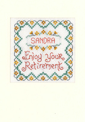 cross stitch Retirement card