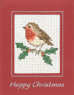 Mini Robin Xmas card cross stitch