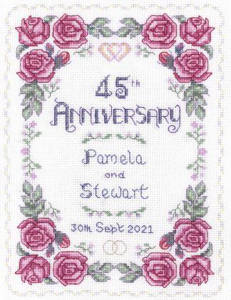 Rose 45th Anniversary Sampler cross stitch