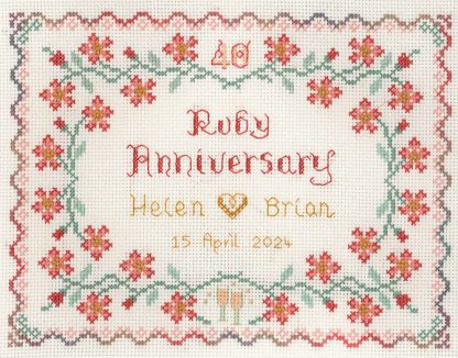 40th Wedding Anniversary Sampler cross stitch