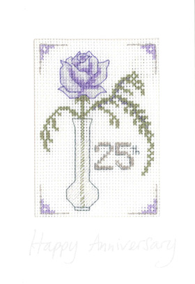 Rose Silver anniversary card cross stitch kit
