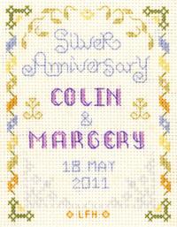 Mini silver wedding anniversary cross stitch kit