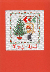 Tree Christmas card cross stitch