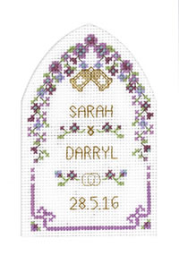 cross stitch Plum Arch Wedding card kit