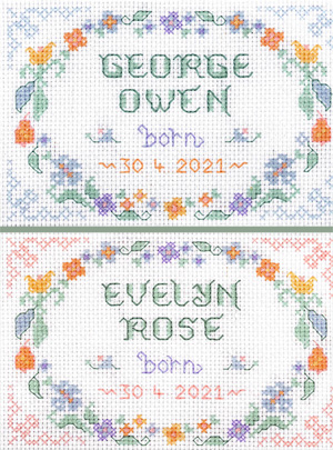 birth sampler cross stitch kit