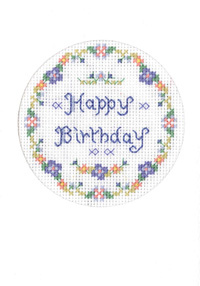 Blue birthday card cross stitch