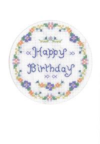 Blue birthday card cross stitch