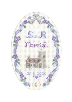 cross stitch Church Wedding card