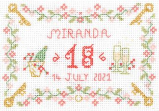 18th birthday Sampler cross stitch