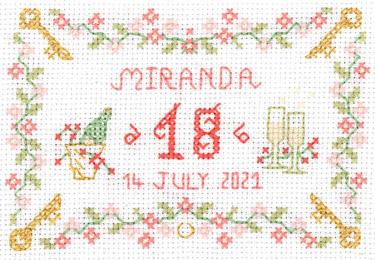18th birthday Sampler cross stitch