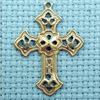 filigree cross brass charm