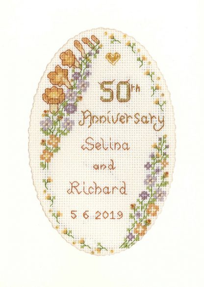 Garland Golden Anniversary card cross stitch kit