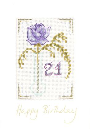 Mauve Age birthday card cross stitch