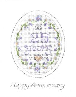 mini 25th Anniversary card cross stitch