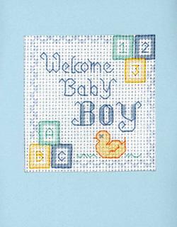 New Baby Boy card cross stitch greeting card kit