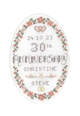 Floral 30th Anniversary card cross stitch kit