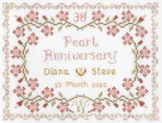 30th wedding anniversary sampler cross stitch