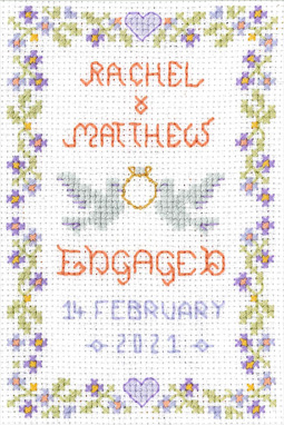 petite Engagement sampler cross