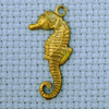 seahorse brass charm