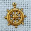 ships wheel brass charm