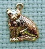 lucky cat brass charm