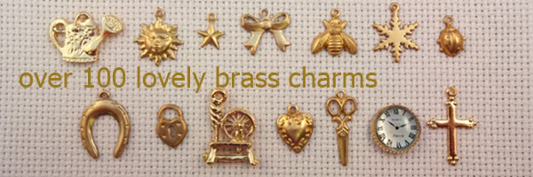 cross stitch brass charms