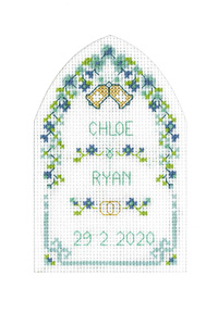 Turquoise Arch Wedding card cross stitch