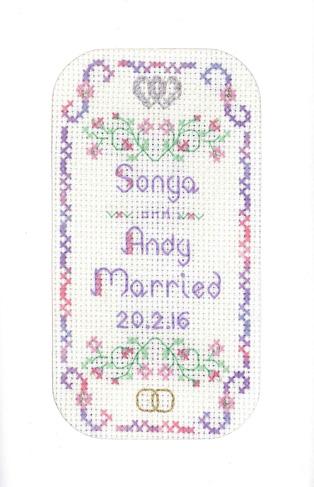 lilac wedding day card cross stitch kit