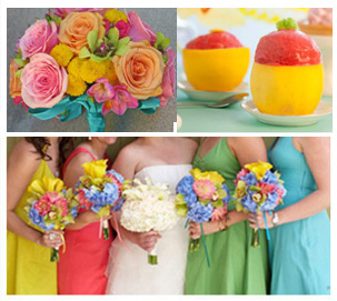 sizzling sorbet wedding colours