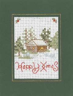Mini Winter Xmas card cross stitch